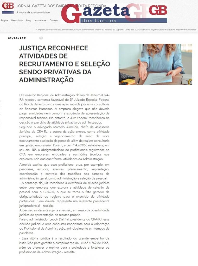 Justiça reconhece atividades de recrutamento e seleção sendo privativas da administração
